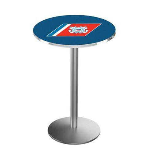 """Holland Bar Stool Military 36"""" Pub Table L214 Team: United States Coast Guard Color: Stainless Steel"""