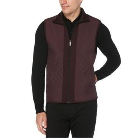 Perry Ellis Men's Colorblocked Chevron Quilted Full-Zip Vest