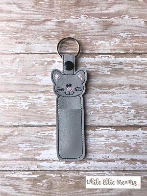 Aqua Pink Kitty Cat Chapstick Holder l lip balm holder l Party Favor l Team Gift l Personalized Key Ring l Cozy
