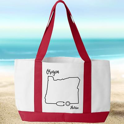 Personalized Nurse Tote with pocket New York Nurse Large Tote Bag with FREE SHIPPING Choose from 5 colors Present for Nurse Canvas Tote