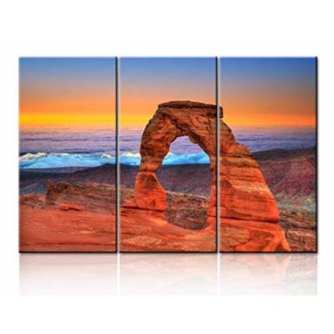 Rustic Wall Decor Symbol of Utah Pictures Arches National Park, Moab,Utah Landscape Paintings 3 Panel Canvas Art Giclee Modern Artwork Home Decor for Living Room Framed Ready to Hang - 28''x42''