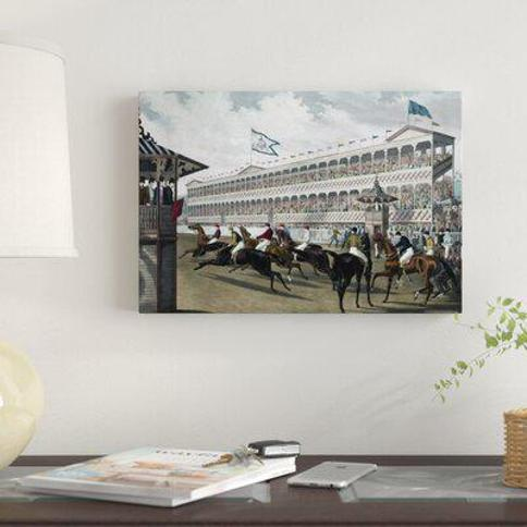 """East Urban Home 'The False Start Jerome Park N.Y' Print on Wrapped Canvas FUVD4262 Size: 27"""" H x 40"""" W x 1.5"""" D"""