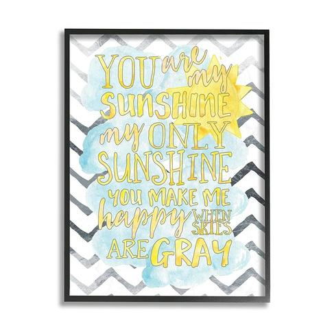 The Kids Room by Stupell You are My Sunshine Watercolors Chevron Black Framed, 11 x 14, Proudly Made in USA - 11 x 14