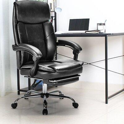 Inbox Zero Ergonomic Executive Chair Upholstery Steel Faux Leather Upholstered In Black Size 24 L X 27 2 W X 48 4 H Wayfair Yahoo Shopping