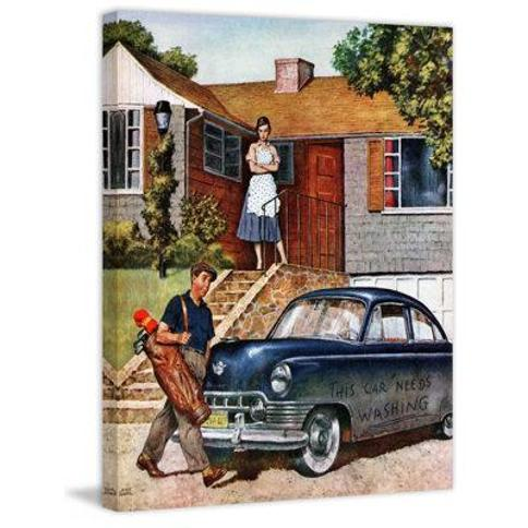 """Marmont Hill This Car Needs Washing by Amos Sewell Painting Print on Wrapped Canvas MH-SEPSP-106-C Size: 29"""" H x 24"""" W x 1.5"""" D"""