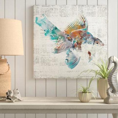 "Rosecliff Heights 'Coastal News Fish' Graphic Art Print on Canvas CG324288 Size: 12"" H x 12"" W x 0.5"" D"