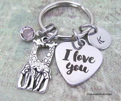 Personalized Antique Silver Initial Best Friend Gift Keyring Key Chain Thank you for being a friend Giraffe Heart Charm Key Ring