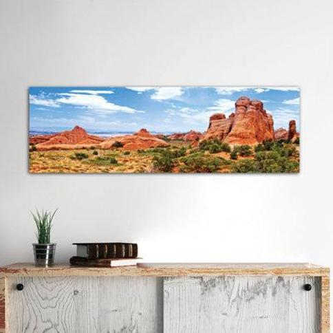 "East Urban Home Rock Formations Arches National Park Moab Utah USA Photographic Print on Wrapped Canvas FTIN0410 Size: 16"" H x 48"" W x 1.5"" D"