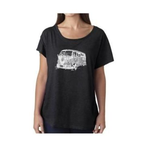 La Pop Art Women's Dolman Cut Word Art Shirt - The 70's