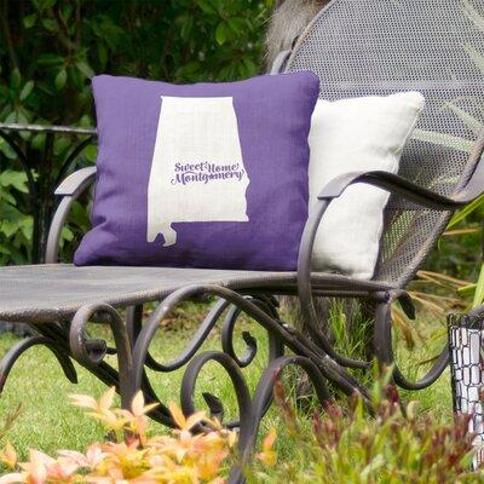 "East Urban Home Alabama Indoor/Outdoor Throw Pillow FCKE9656 Color: Purple Size: 20"" x 20"" City: Montgomery"