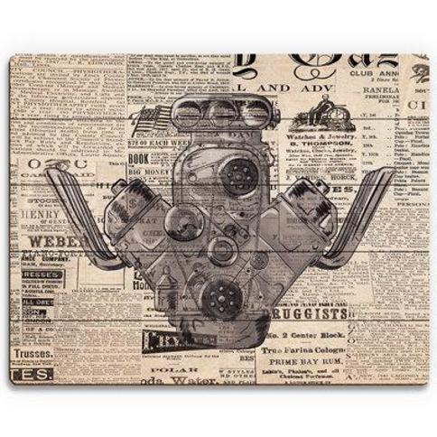 """Click Wall Art 'Engine News' Textual Art on Wood MCV0000436PLK Size: 20"""" H x 30"""" W x 1"""" D"""