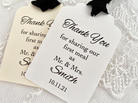White Card Details about  /48 x Personalized Thank you For Sharing Our 1st Meal Tags