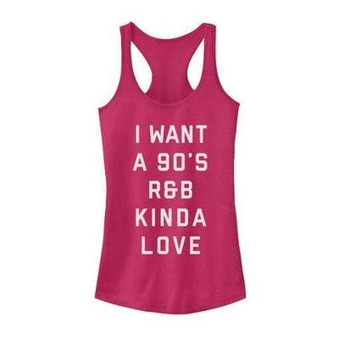 """Juniors' Valentine's Day ""I Want A 90's R&B Kinda Love"" Tank Top, Girl's, Size: Small, Red"""