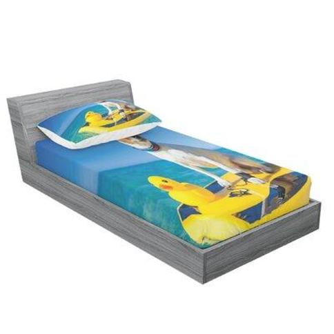 East Urban Home Dog with Sunglasses and Rubber Duck on Surfboard at Ocean Shore Fun Summer Sheet Set FCMI3950