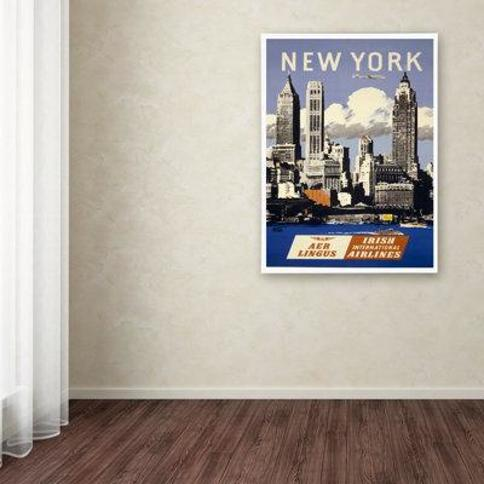 "Trademark Fine Art Apple 'Trav NY Aer Lingus' Vintage Advertisement on Wrapped Canvas ALI0209-C Size: 32"" H x 22"" W x 2"" D"