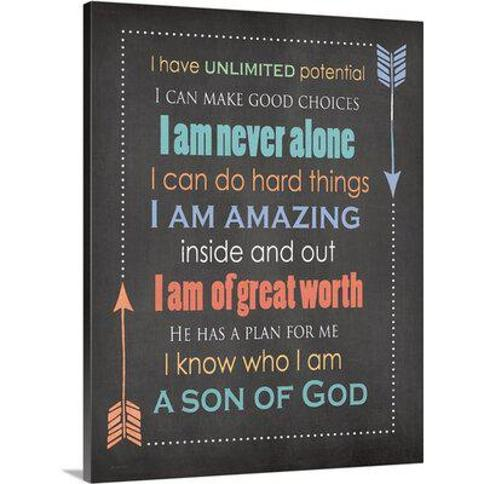 """Great Big Canvas 'Son Of God' by Jo Moulton Textual Art 2385583_1 Format: Canvas Size: 20"""" H x 16"""" W"""