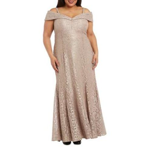RM Richards Champagne Plus Size Lace Off the Shoulder Gown