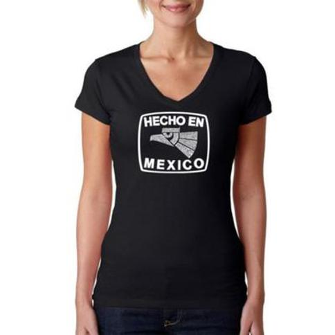 LA Pop Art Black Word Art V-Neck T-Shirt - Hecho en Mexico