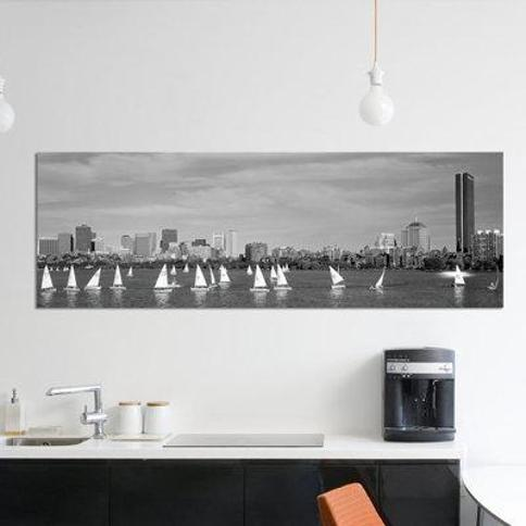 "East Urban Home 'USA Massachusetts Boston Charles River View of Boats on a River by a City' Photographic Print on Canvas FTCI7906 Size: 16"" H x 48"" W x 1.5"" D"