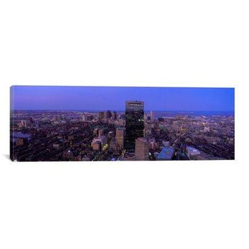 "iCanvas Panoramic Aerial View of a City Boston Suffolk County Massachusetts Photographic Print on Canvas PIM7097 Size: 12"" H x 36"" W x 1.5"" D"