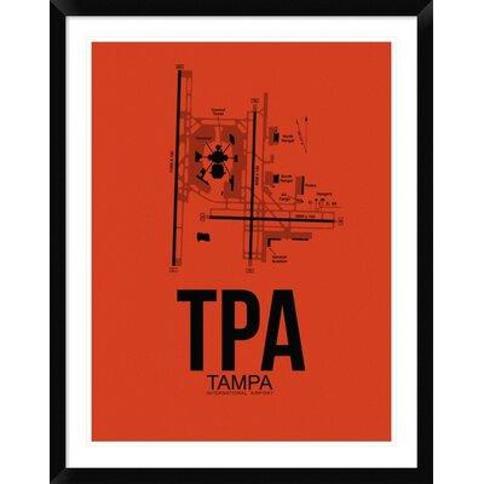 "Naxart 'TPA Tampa Airport' Framed Graphic Art Print in Orange DPF-454512-313 Size: 38"" H x 30"" W x 1.5"" D"