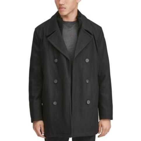 Marc New York Men's Burnett Double Breasted Peacoat with Inset Knit Bib