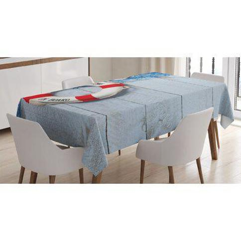 """East Urban Home Ambesonne Buoy Tablecloth Welcome On Board Message On Lifebuoy With Fishing Net Seashell Wood Floor Of Boat Rectangular Table Cover For Dining Room Kitchen Decor 52"""" X 70"""" Dust Blue Red FCLO0027 Size: 84"""" x 60"""""""