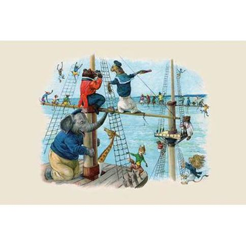 """Buyenlarge 'Up the Rigging the Monkeys Ran' by G.H. Thompson Graphic Art 0-587-22471-1 Size: 20"""" H x 30"""" W"""