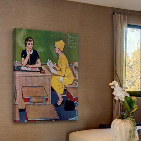 """Marmont Hill Parent Teacher Conference by Amos Sewell Painting Print on Wrapped Canvas MH-RETR-367-C- Size: 36"""" H x 30"""" W"""