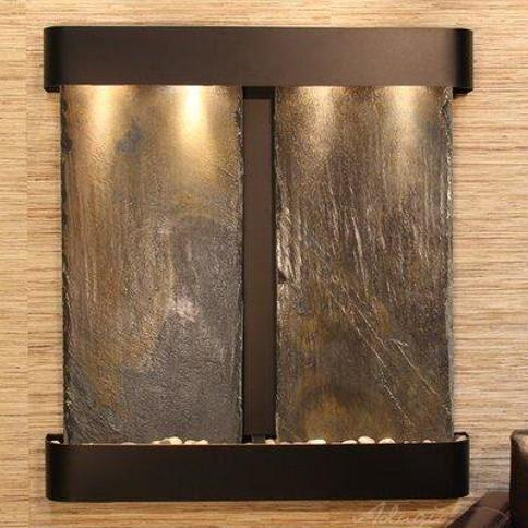 Adagio Fountains Aspen Falls Natural Stone/Metal Wall Fountain with Light AFR Finish: Blackened Copper Stone: Bronze Mirror
