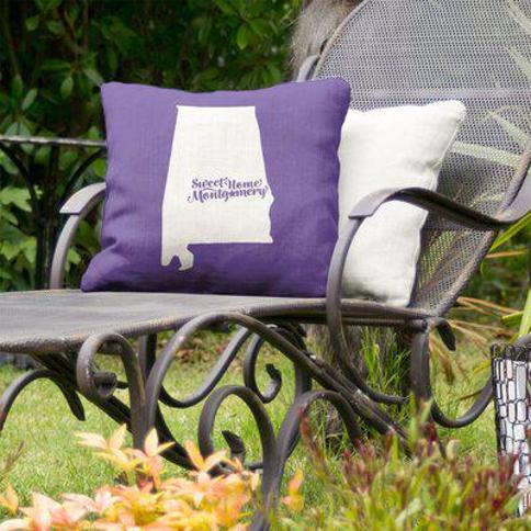 "East Urban Home Alabama Indoor/Outdoor Throw Pillow FCKE9656 Color: Purple Size: 18"" x 18"" City: Montgomery"