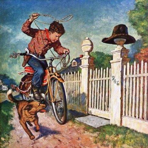 """Marmont Hill Playing Cowboy by Amos Sewell Painting Print on Wrapped Canvas MH-RETR-185-C- Size: 40"""" H x 40"""" W"""