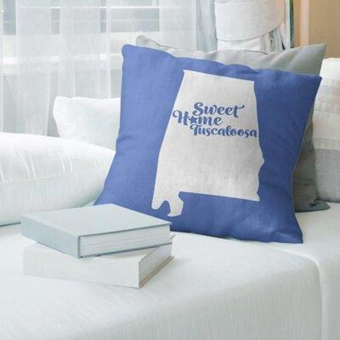 """East Urban Home Montgomery Alabama Pillow Cover FCKF9081 Color: Blue Size: 26"""" H x 26"""" W City: Tuscaloosa"""