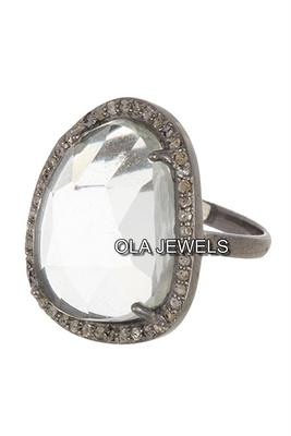 price for 1 psc. Solid Sterling silver 925 black finish clear quartz with diamonds ring