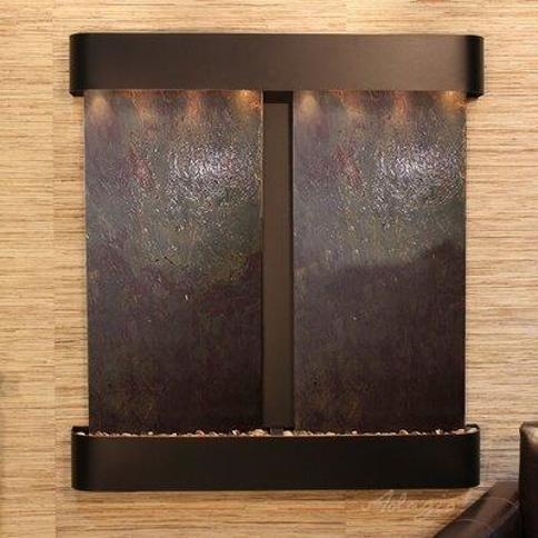 Adagio Fountains Aspen Falls Natural Stone/Metal Wall Fountain with Light AFR Finish: Blackened Copper Stone: Multi-Color Feather