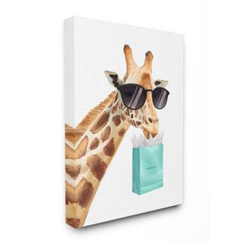 "Stupell Industries 'Glam Fashion Giraffe Animal Blue' by Ziwei Li Painting Print fda-159_ Format: Canvas Size: 30"" H x 24"" W x 1.5"" D"