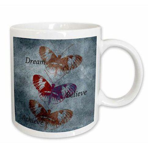 East Urban Home Dream Believe Achieve Inspirational Words Butterflies Coffee Mug X111447745