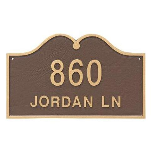 Montague Metal Products Inc. Hillsdale 2-Line Wall Address Plaque PCS-0144S2-W- Finish: Sea Blue / Silver
