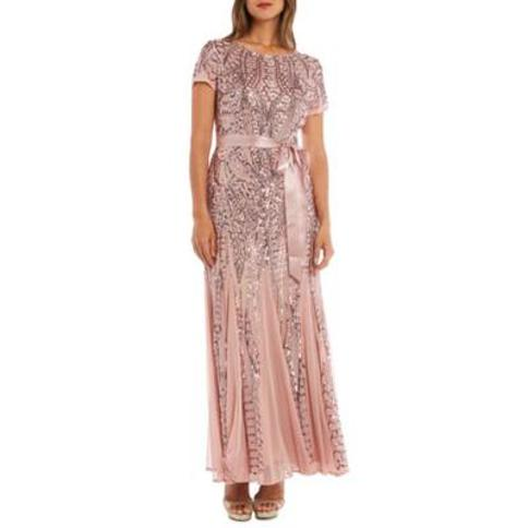 RM Richards Mauve Short Sleeve Beaded Long Gown