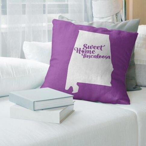 """East Urban Home Montgomery Alabama Pillow Cover FCKF9081 Color: Violet Size: 14"""" H x 14"""" W City: Tuscaloosa"""