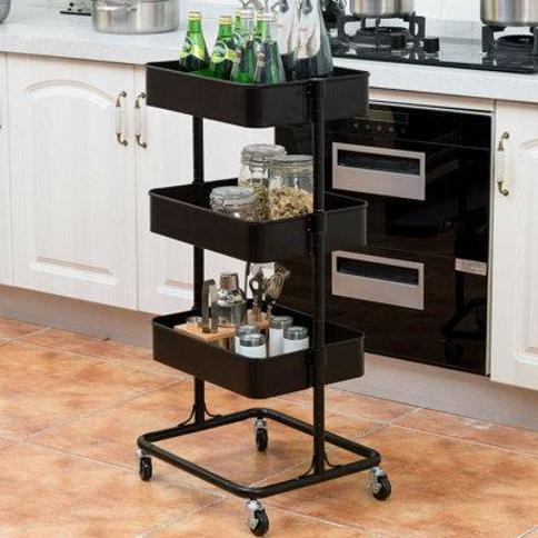 Costway 3 Tier Metal Rolling Storage Cart Mobile Organizer HW57744WH Finish: Black