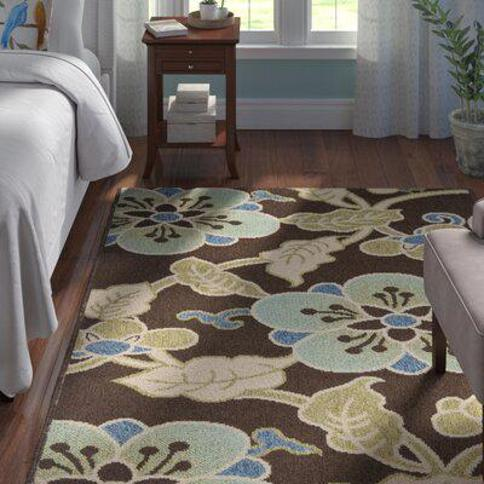 """Winston Porter Centeno Floral Blue/Brown/Green Indoor / Outdoor Area Rug X112611914 Rug Size: Rectangle 4' x 5'7"""""""