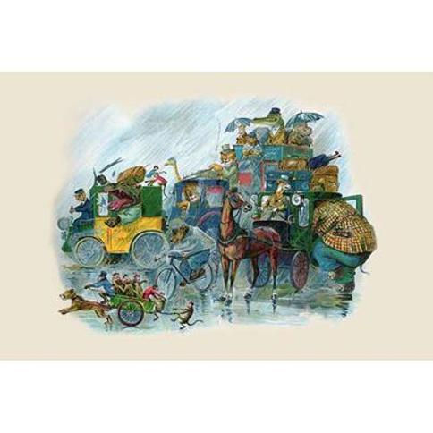 """Buyenlarge 'All Animal Land is Off to the Station' by G.H. Thompson Graphic Art 0-587-22475-4 Size: 20"""" H x 30"""" W"""