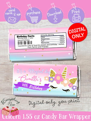 DIGITAL DOWNLOAD Carousel Birthday Candy Chocolate Hershey Bar Wrappers Labels Digital Printable