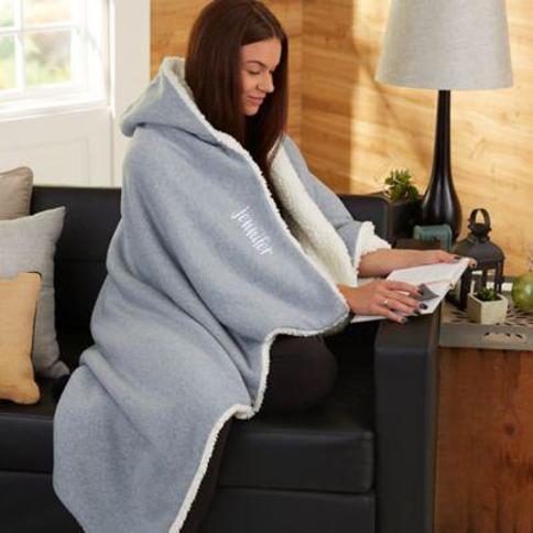Sherpa Hooded Throw Blanket in Grey