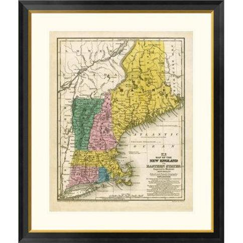 """Global Gallery Map of the New England or Eastern States 1839 by Samuel Augustus Mitchell Framed Graphic Art DPF-295182- Size: 40"""" H x 34"""" W x 1.5"""" D"""