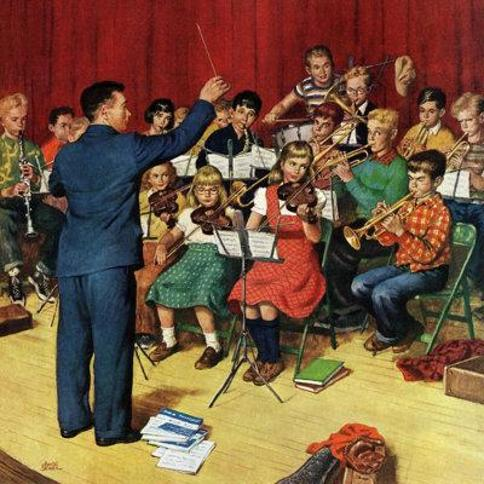 """Marmont Hill School Orchestra by Amos Sewell Painting Print on Wrapped Canvas MH-RETR-205-C- Size: 48"""" H x 48"""" W"""