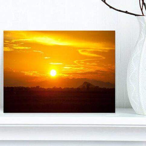 """Design Art 'Bright Yellow Sunset in Sri Lanka' Photographic Print on Wrapped Canvas PT12923- Size: 8"""" H x 12"""" W"""