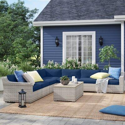 Sol 72 Outdoor Falmouth 8 Piece Rattan Sectional Seating Group W Cushions Cushion All Weather Wicker Rust Resistant Metal Resin Wicker In Navy Yahoo Shopping