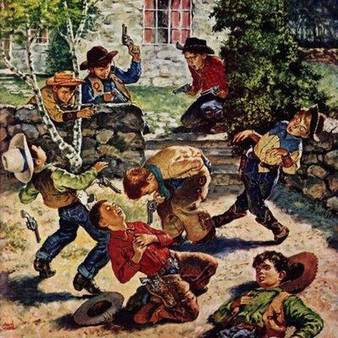 "Marmont Hill Playing Cowboy by Amos Sewell Painting Print on Wrapped Canvas MH-RETR-153-C- Size: 32"" H x 32"" W"